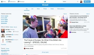 #brexit wurde in den sozialen Medien schnell zu einem der meist benutzten Hashtags, nachdem Gross-Britannien sich im Referendum für den EU-Ausstieg ausgesprochen hatte (Bild: Screenshot Twitter)