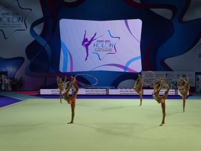 Die israelische Mannschaft bei der EM für rhythmische Gymnastik (Bild: Facebook-Seite Israeli Gymnastics Magazine)