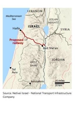 Der Weg der neuen Zugstrecke führt vom Hafen Haifa bis an die jordanische Grenze