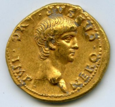 Die Goldmünze mit dem Nero-Portrait (Bild: Dank an Shimon Gibson).