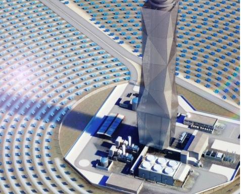 Der geplante Solarturm im Süden Israels (Bild: GE Renewable Energy)
