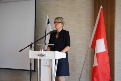 NR Corina Eichenberger sprach in ihrer Rede ua. eine für 2017 geplante Kampagne gegen die Delegitimierung Israels an  (Bild: Samuel Suter).