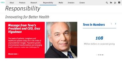 Der israelische Pharmakonzern Teva investiert jährlich 108 Millionen USD in Unternehmensspenden (Bild: Screenshot Webseite TEVA)